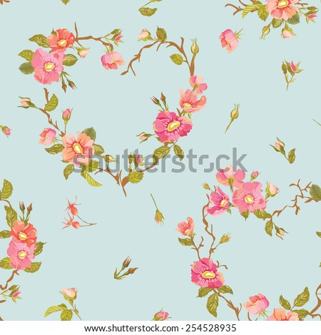Flower Background - Seamless Floral Shabby Chic Pattern - in vector - stock vector