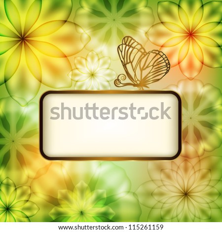 Flower background with butterfly and place for text - stock vector