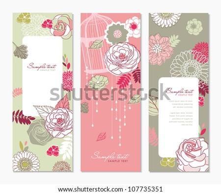 flower banners - stock vector