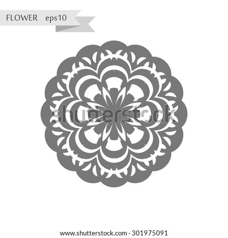 Flower beautiful gray flat design