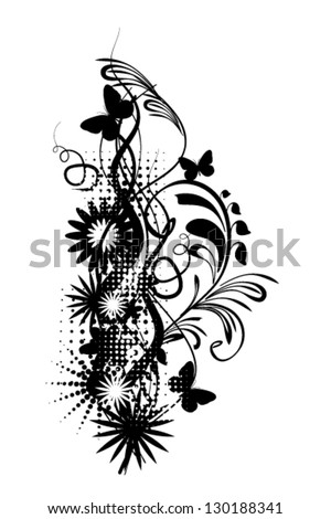 Flower black and white abstract - stock vector