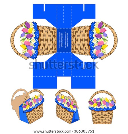 Flower Bouquet Handmade Craft Rustic Basket Shaped Packet design, Romantic Summer Love Themed present bag, DIY die-stamping  container, folding, ready no glue, Designer supply - stock vector