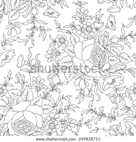 Flower bouquet pattern. Floral seamless background. Floral seamless texture with leaves. - stock vector