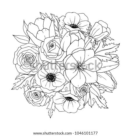Flower Bouquet Vector Coloring Book Adult Stock Vector
