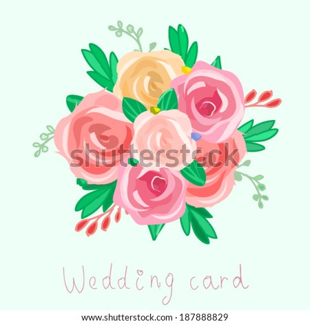 flower bouquet vector illustration. peony and roses flower bouquet background vector. wedding bouquet vector illustration.floral vector illustration  - stock vector