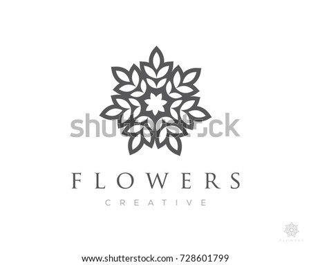 flower boutique logo icon vector