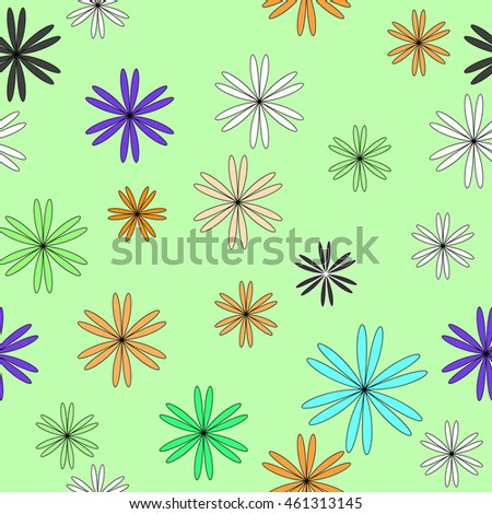 Flower color chaotic seamless pattern. Fashion graphic background design. Modern stylish abstract texture. Colorful template for prints, textiles, wrapping, wallpaper, website etc. VECTOR illustration