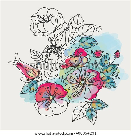 Flower composition - anemones. Contour drawing, partial painting.
