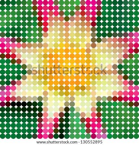 Flower dahlia. Vector circle color ton dots. - stock vector