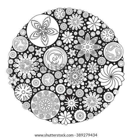 Flower Design Coloring Book Grown Up Stock Vector 389279434 ...