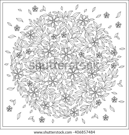 Flower Design Coloring Book Grown Up Stock Vector 406857484 ...