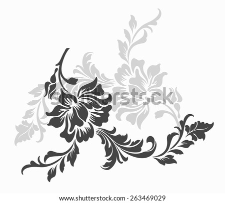 flower design sketch for pattern,lace edge,flower motif - stock vector