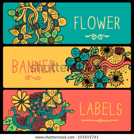 Flower Doodle Banners - stock vector