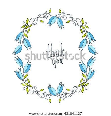 Flower doodle frame line vector illustration stock vector 431841127 line vector illustration hand drawn circle frame card poster stopboris Images