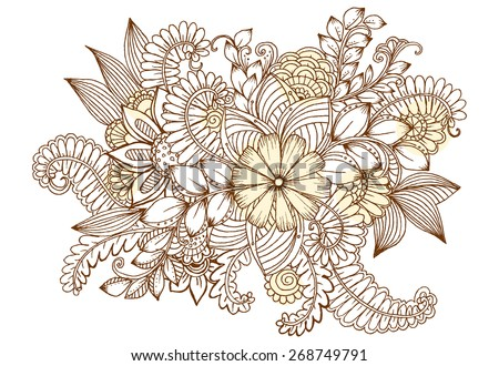 Flower doodles. Spring floral pattern - stock vector