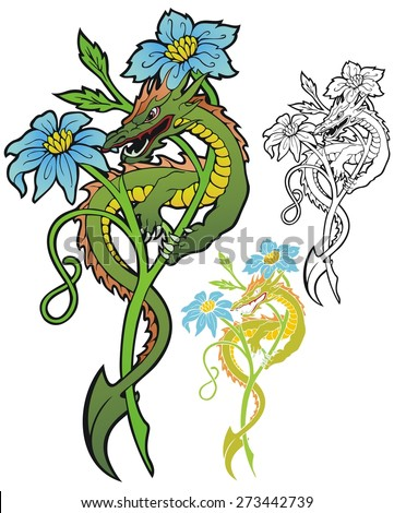 flower dragon on fantasy blossom - stock vector
