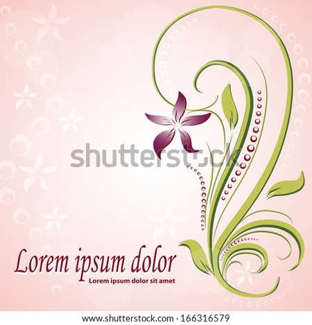 Flower element on a solar background. Illustration for your design - stock vector