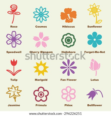 flower elements, vector infographic icons - stock vector
