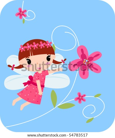 Flower fairy - stock vector