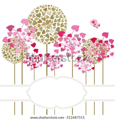 Flower fantasy design on bright a background with butterflies