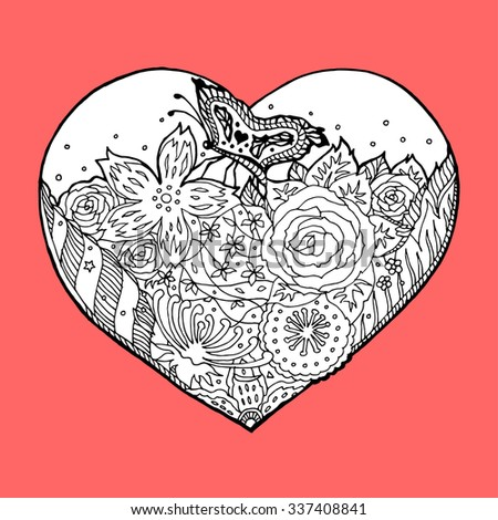 flower floral heart with butterfly hand drawn, vector illustration design, zentangle art