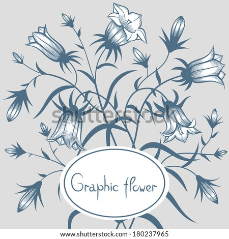 Flower frame. Flower borders. Bouquet Campanula bell isolated. vector. - stock vector