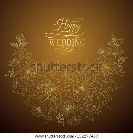Flower frame on dark background..Vector illustration.