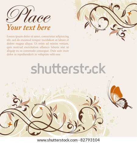 Flower Frame with Butterfly, element for design, vector illustration - stock vector