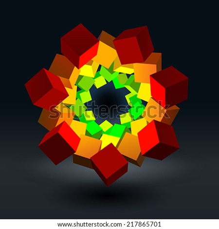 Flower from cubes - stock vector