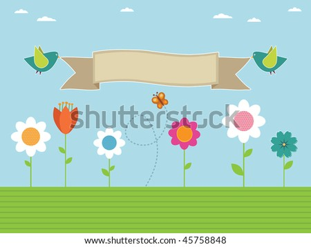flower garden with birds carrying sign ready for text