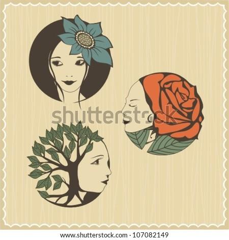 flower girls - stock vector