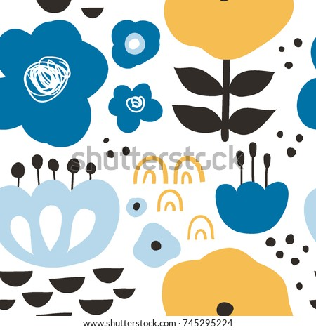 Flower Graphic Design Trendy Creative Seamless Pattern With Hand Drawn Flowers And Leaves Abstract
