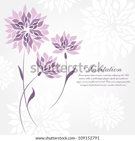 Flower greeting card. Wedding invitation - stock vector