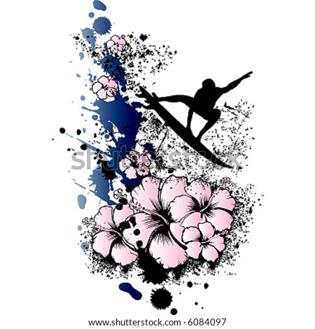 Flower grunge surfing - stock vector