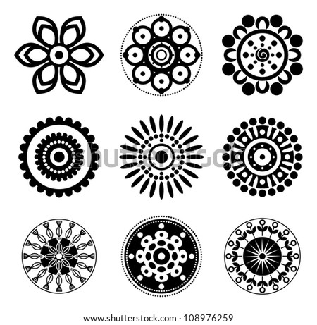 Flower icon set - stock vector