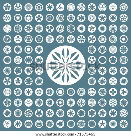 Flower icon set. Abstract graphic design. - stock vector