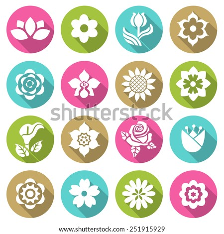 Flower icon set  flat style icons in circles with long shadows. Vector illustration. - stock vector