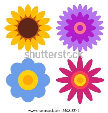 Flower icon set - sunflower, chrysanthemum, daisy and gerber isolated on white background  - stock vector