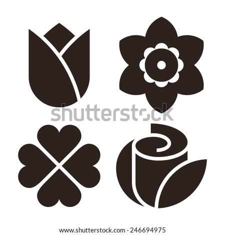 Flower icon set - tulip, narcissus, clover and rose isolated on white background - stock vector