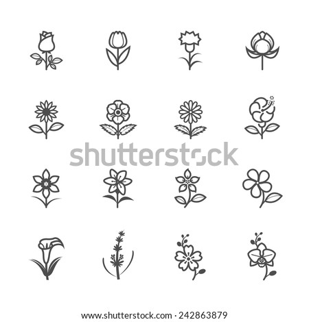Flower Icons for Pattern - stock vector