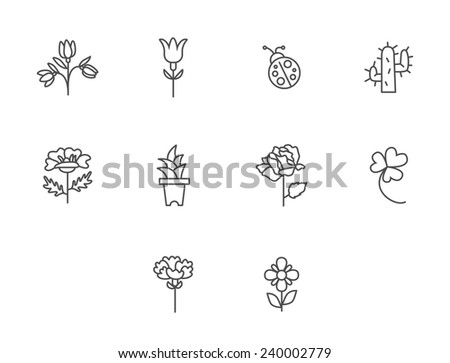 Flower Icons for Pattern with White Background - stock vector