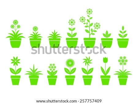 Flower icons on white background - stock vector