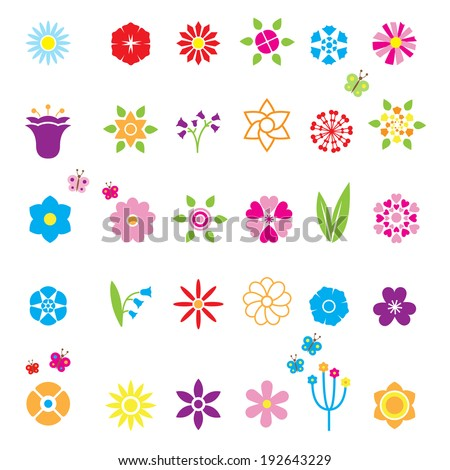 Flower Icons Set for decor, edging and branded symbols. Bell chamomile cornflower chicory and other. Vector eps10 illustration - stock vector