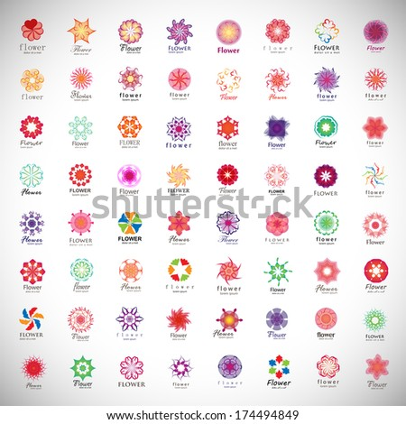 Flower Icons Set - Isolated On Gray Background - Vector Illustration, Graphic Design Editable For Your Design.  - stock vector