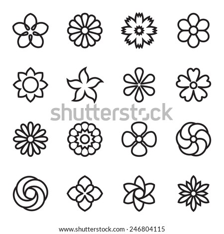 Flower icons. Vector illustration - stock vector
