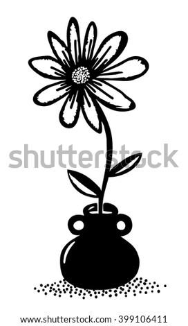 Flower in a flowerpot - stock vector