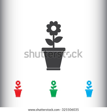 Flower in a pot sign icon, vector illustration. Flat design style for web and mobile.