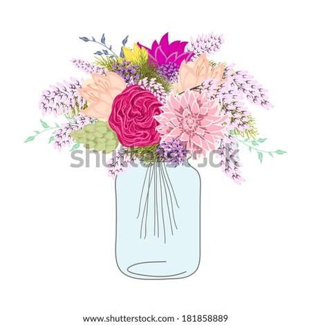 Flower In Mason Jars set - stock vector