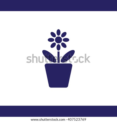Flower in pot vector icon