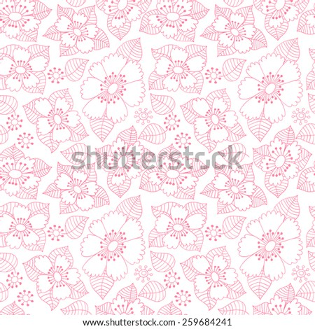 Flower ink doodle seamless pattern. Floral vector background.